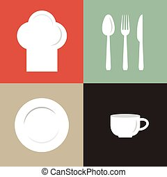 vector illustration of chef's hat, plate, cup and flatware....
