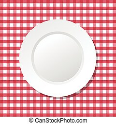 vector illustration of red tablecloth and empty plate