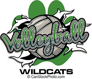 wildcats volleyball team design with ball ripping through...