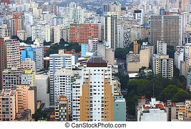 Tall buildings aerial view of Downtown Sao Paulo