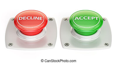decline and accept push button, 3D rendering