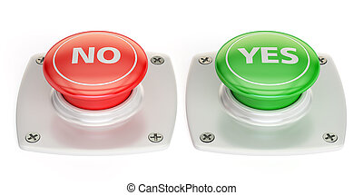 yes and no push button, 3D rendering