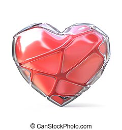 Red heart with broken iced shell. 3D render illustration...