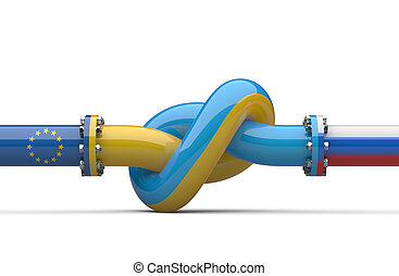 Russia - Ukraine - Europe  gas crisis concept. Pipeline tied in a knot.
