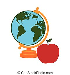 colorful silhouette with map of world and apple