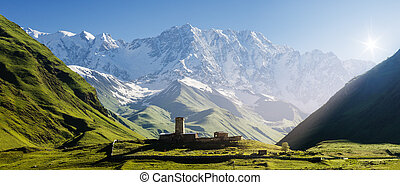 Church at the foot of the Caucasus Mountains - Panorama...
