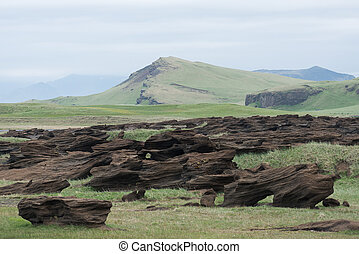 Icelandic landscape with muted colors and abstract rocks -...