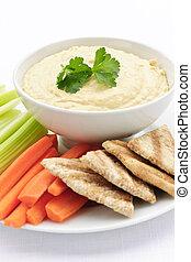 pita,  Hummus, legumes, pão