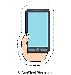 hand holding smartphone gadget -cut line vector illustration...