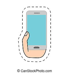 hand holding white smartphone-cut line vector illustration...