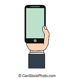 mobile phone in hand green screen icon