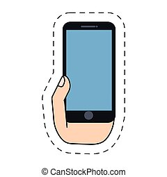 hand holding smartphone communication -cut line vector...