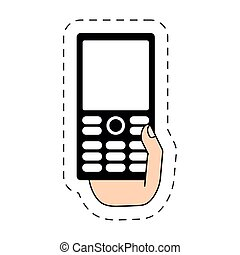 hand holding smartphone-cut line vector illustration eps 10