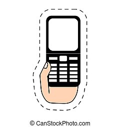 hand holding smartphone screen -cut line vector illustration...