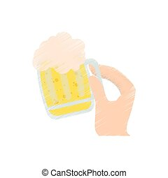drawing hand holding saint patrick day glass beer vector...