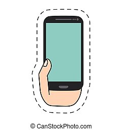 hand holding smartphone -cut line - hand holding...