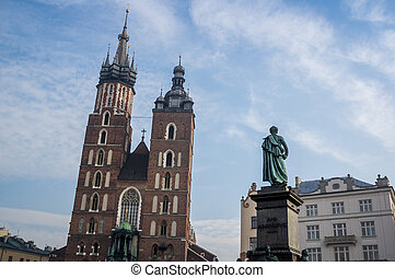 Saint Mary's Church and Adam Mickiewicz monument, Krakow,...