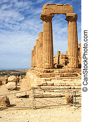 Ancient Greek temple of Juno in Agrigento, Sicily, Italy -...