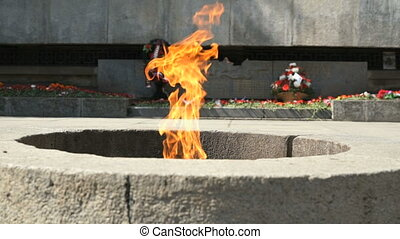Burning of Eternal Flame in Kremlin on Victory Day of 9 May...