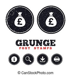 Money bag sign icon. Pound GBP currency. - Grunge post...