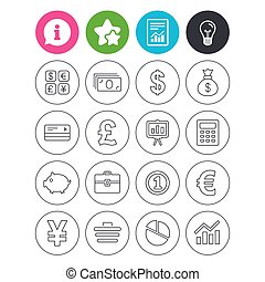 Money and business icon. Cash and cashless money. -...