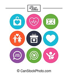 Love, valentine day icons. Target with heart. - Love,...