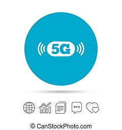 5G sign. Mobile telecommunications technology. - 5G sign...