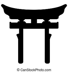 Religious sign. Japanese religions. Shinto symbol. Vector Format.