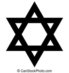 Religious sign. Judaism. Star of David. Vector Format.