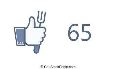 animation thumb up with fork icon on white background. food concept.
