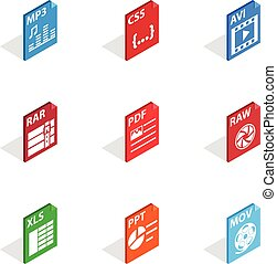 File type icons, isometric 3d style