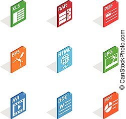 Document file format icons, isometric 3d style
