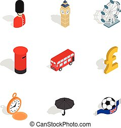 British culture icons, isometric 3d style - British culture...