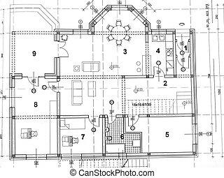 Architectural plan - frontal view of architectural plan...