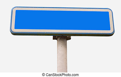 Blue trafic sign taken from a pedestrian perspective,...