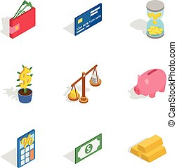 Banking icons, isometric 3d style