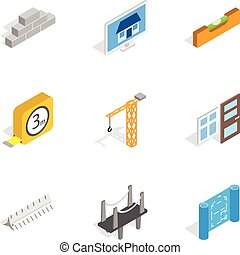Building icons, isometric 3d style