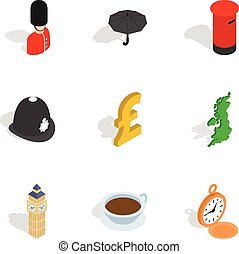 England attractions icons, isometric 3d style - England...