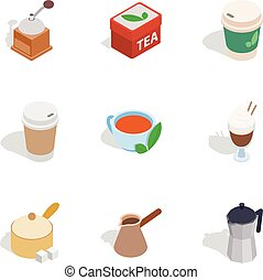 Cafe icons, isometric 3d style