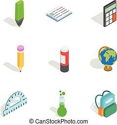 School equipment icons, isometric 3d style
