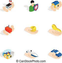 Property insurance icons, isometric 3d style