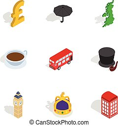 Travel to London icons, isometric 3d style - Travel to...