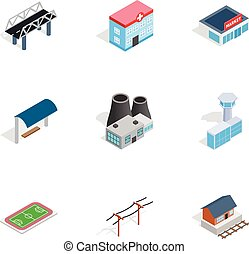 City buildings icons, isometric 3d style