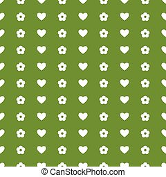 vector seamless background with white hearts and flowers on...