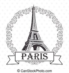 vector illustration of eiffel tower with label Paris