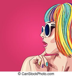 vector beautiful woman wearing colorful wig and white sunglasses