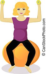 Pregnant woman on fitball isolated vector illustration