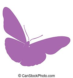 Isolated butterfly silhouette - Isolated silhouette of a...