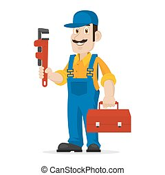 Plumber holds an adjustable spanner and suitcase -...