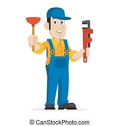 Plumber holds plunger and adjustable spanner - Illustration...